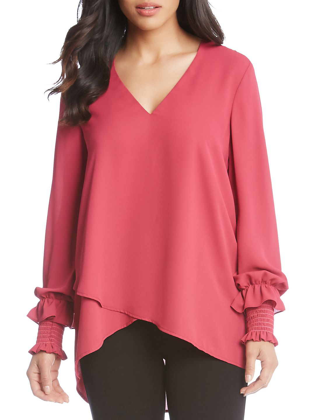 Smocked Sleeve Crossover Top