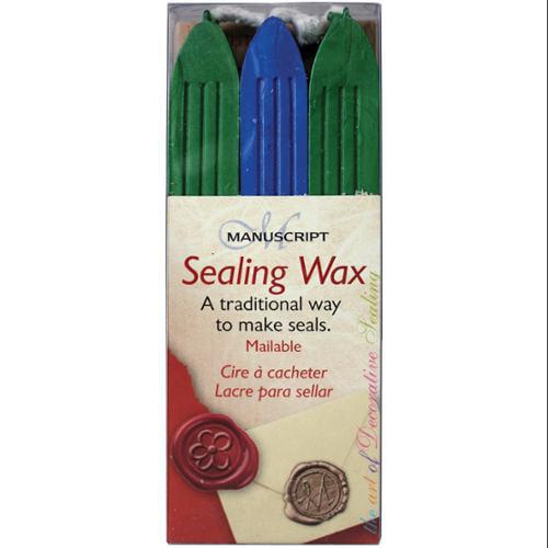 Traditional Seal Wax Sticks W/Wicks 3/Pkg-Blue/Green/Pearl