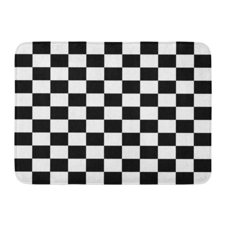 SIDONKU Race Abstract in Black and White Squares Stripe Checkered Pattern Doormat Floor Rug Bath Mat 23.6x15.7 inch