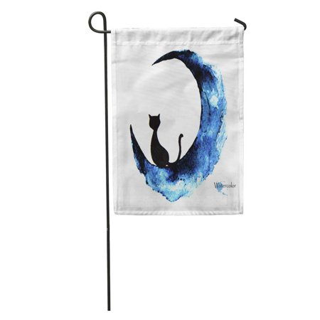 LADDKE Blue Halloween Watercolor Painting of Black Cat Sitting Moon Abstract Garden Flag Decorative Flag House Banner 12x18 inch - Paintings Of Halloween