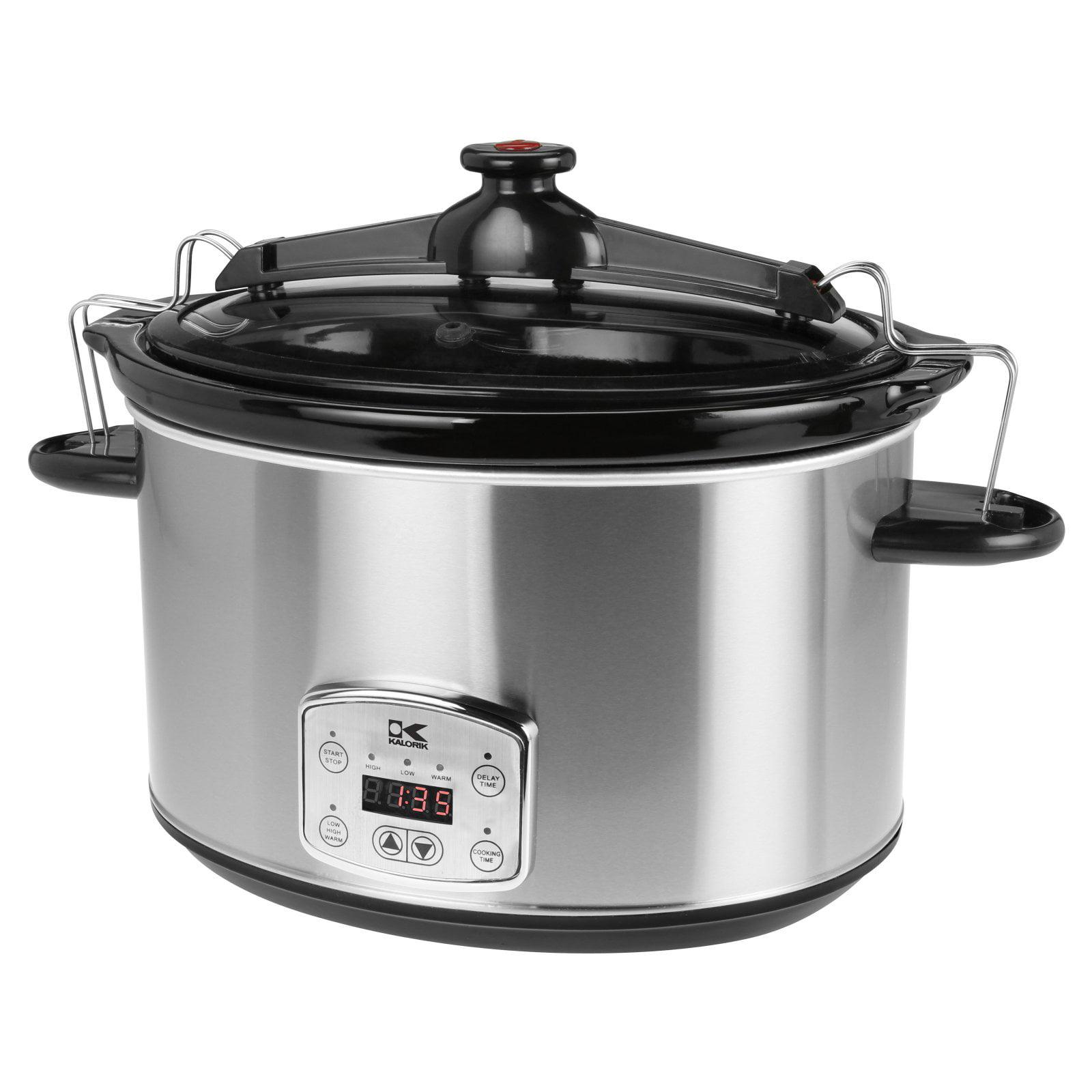 Kalorik 8-Qt Digital Slow Cooker with Locking Lid, Stainless Steel