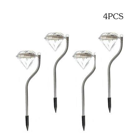 4PCS Outdoor LED Path Lamp Diamond Lights Solar Power Night Lights Flower Lamp Home Garden Fence Light Yard Lawn Decoration Gift