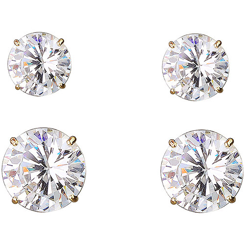 6/7mm Cubic Zirconia 10kt Yellow Gold Stud Earrings, Set of 2