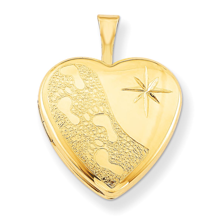 42024 Gold Filled 0.6IN Footprints Heart Locket w/ 18in Chain (0.7IN x 0.6IN )