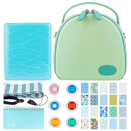 Round Case for Fuji Instax Mini Camera Green + Scrapbooking Album + Photo Album + 6 Colored Filters + Striped Camera Strap + 20 Sticker Frames for Fuji Instax Prints Baby Boy Themed Package - Top Kit - Mini Scrapbook