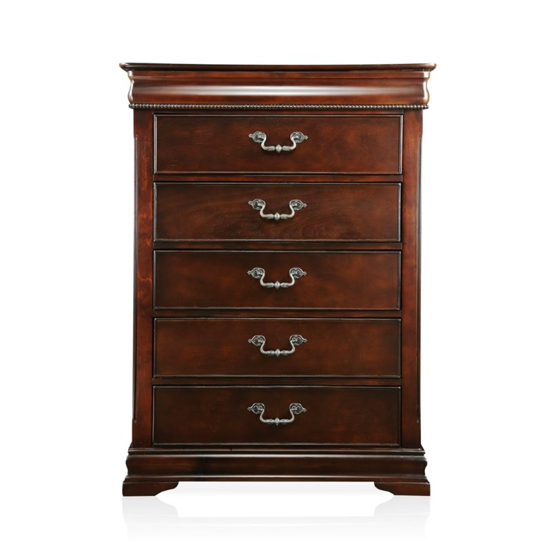 Furniture of America Ruben 5 Drawer Chest in Cherry