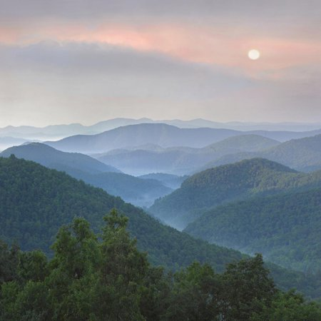 Sunrise over Pisgah National Forest from Blue Ridge Parkway, North Carolina, Usa Photo Print Wall Art By Tim