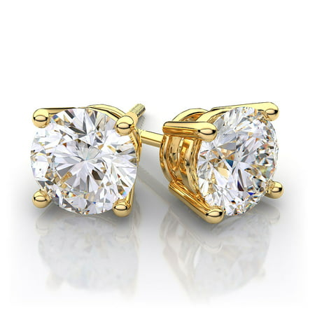 - 2 dwt Round Cut C&C Forever Classic Moissanite Martini Stud Earrings 18k Y Gold