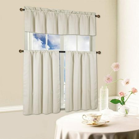 Beth 3 Piece Energy Efficient Blackout Window Kitchen Curtain Set - Beige Kitchen Curtain