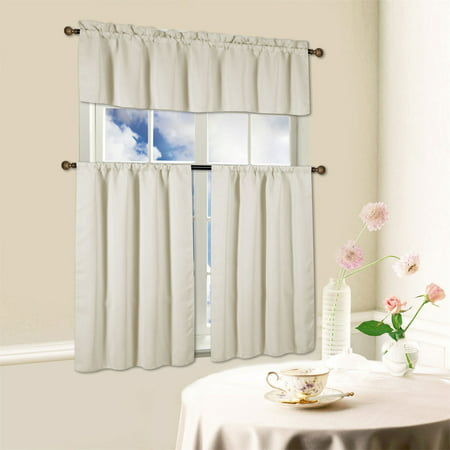 Beth 3 Piece Energy Efficient Blackout Window Kitchen Curtain Set -