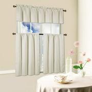 Beth 3 Piece Energy Efficient Blackout Window Kitchen Curtain Set Beige