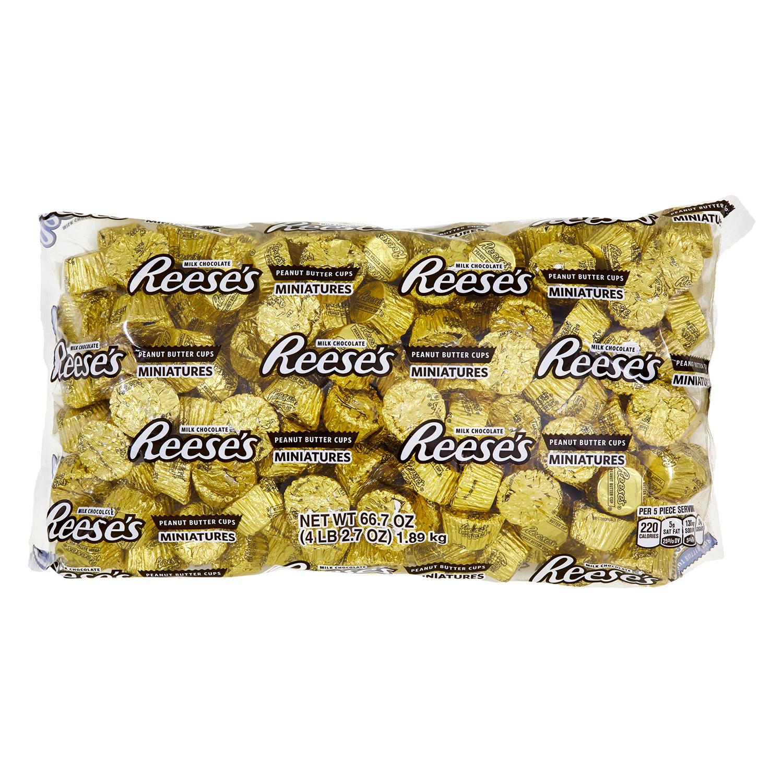 Reese's Miniature Peanut Butter Cups Candy, Milk Chocolate, 66.7 Oz.