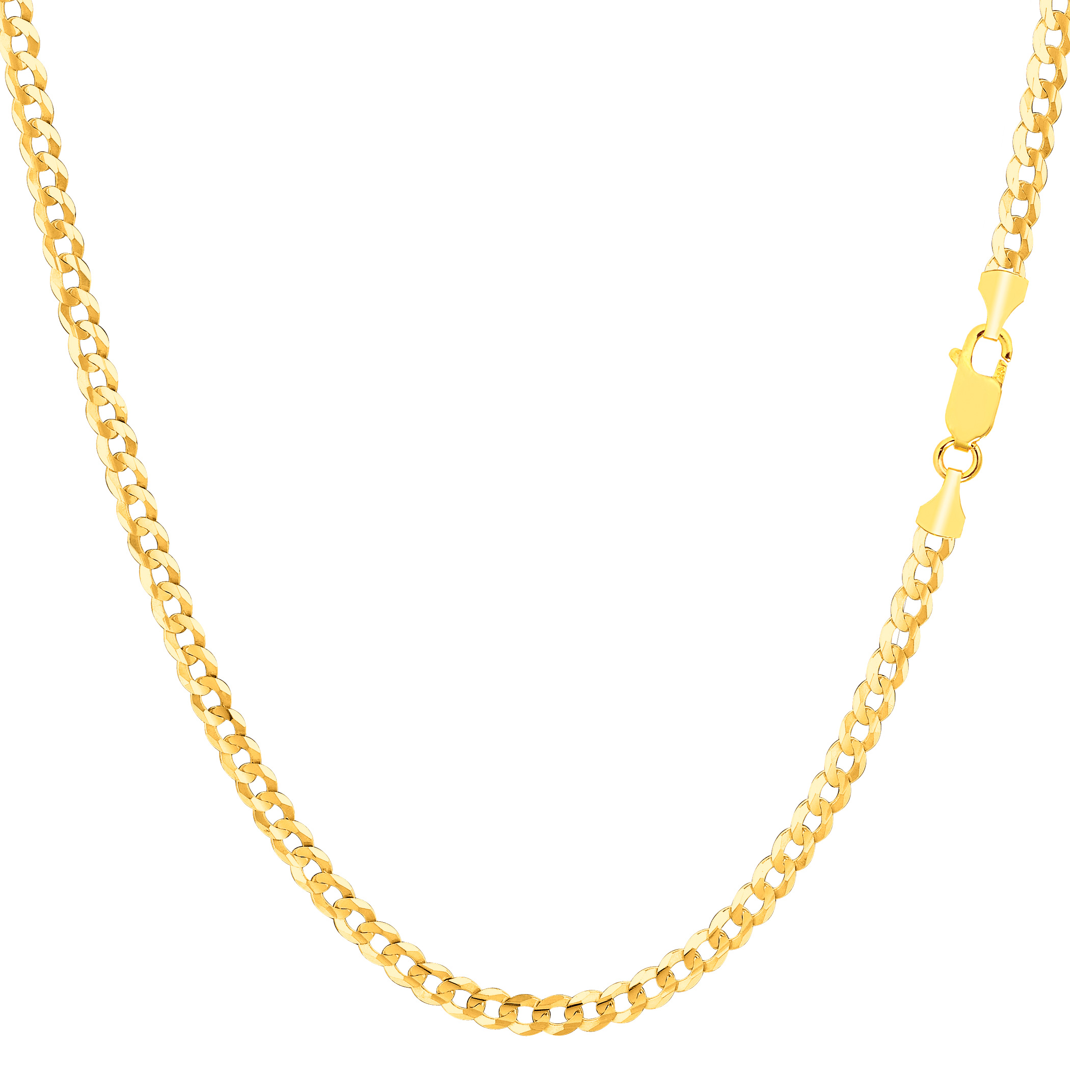 """10k Yellow Gold Comfort Curb Chain Necklace, 2.6mm, 18"""" - image 1 of 1"""