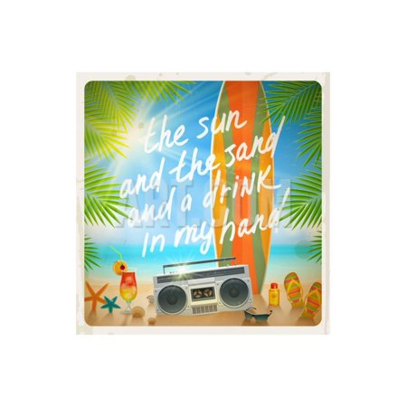 Vintage Vector Illustration - Old Surfboard with Summer Hand Drawn Saying and Retro Cassette Record Print Wall Art By vso](Vintage Halloween Sayings)