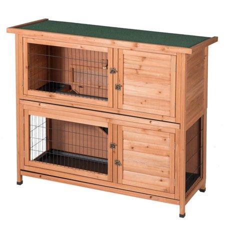 Two Floors Wooden Outdoor Indoor Bunny Hutch Rabbit Cage PET House