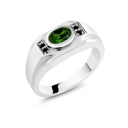 2.23 Ct Oval Simulated Emerald and Black Diamond 925 Sterling Silver Men's Ring