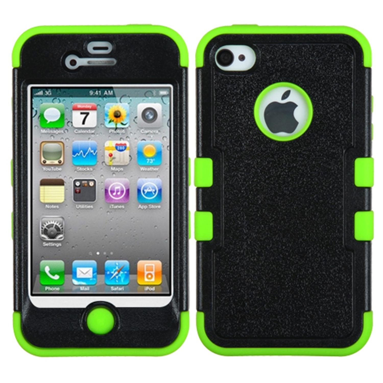 Insten Natural Black Electric Green TUFF Hybrid Hard Shockproof Phone Skin Case For APPLE iPhone 4/4S
