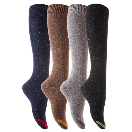 Lovely Annie Women's 4 Pairs Pack Knee High Cotton Boot Socks 6-9(4 Color w/o Wine) - Hunter Boot Socks