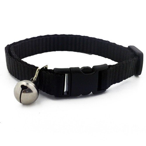 Wideskall Adjustable Nylon Safety Breakaway Cat Collar With Bell, Black