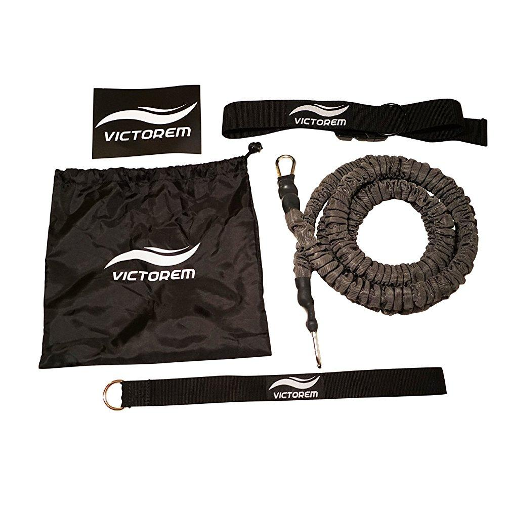 victorem strength 80 lb resistance running training bungee band (waist) 8 ft 360 agility, strength & speed fitness for... by