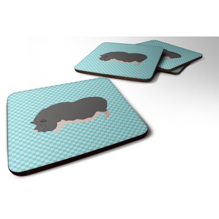 Set of 4 Vietnamese Pot-Bellied Pig Blue Check Foam Coasters Set of 4 (Vietnamese Pot Bellied Pig Pet For Sale)