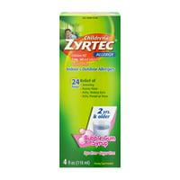 Zyrtec 24 Hr Children's Allergy Relief Syrup, Bubble Gum, 4 fl. Oz.