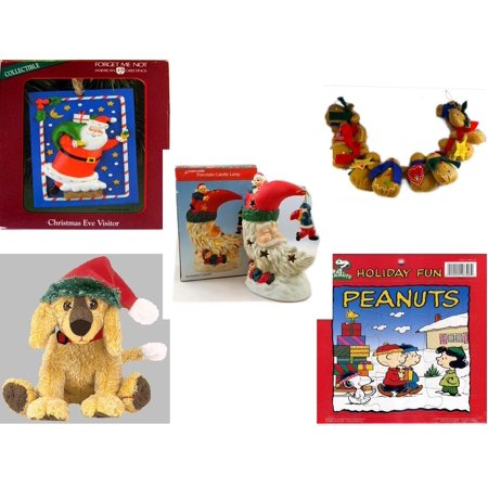 Christmas Fun Gift Bundle [5 Piece] - American Greetings Ornament  Eve Visitor - String of Gingerbread  w/ Wood Stars & Hearts 4.5' Feet  - A Treasury of Gifts Santa Moon Porcelain Candle Lamp -