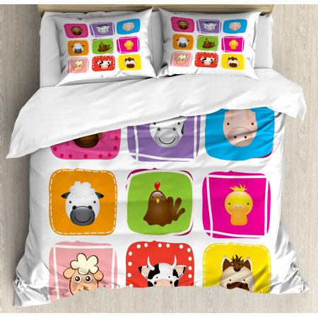 Baby Duvet Cover Set, Geometric Pattern with Squares Animal Faces Horse Chicken Cow Duck Sheep and Pig, Decorative Bedding Set with Pillow Shams, Silver Emerald, by Ambesonne ()