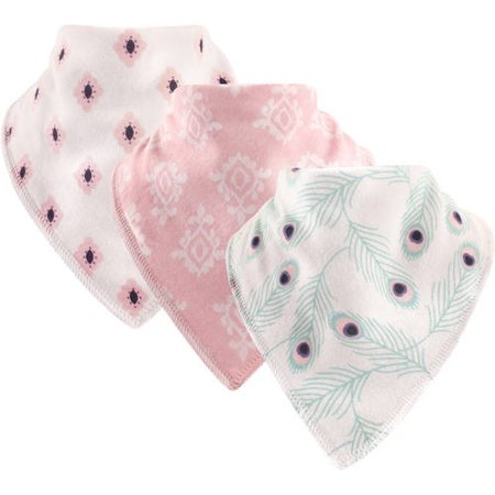 Hudson Baby Boy and Girl Cotton/Fleece Bandana Bib, 3-Pack - Peacock ()