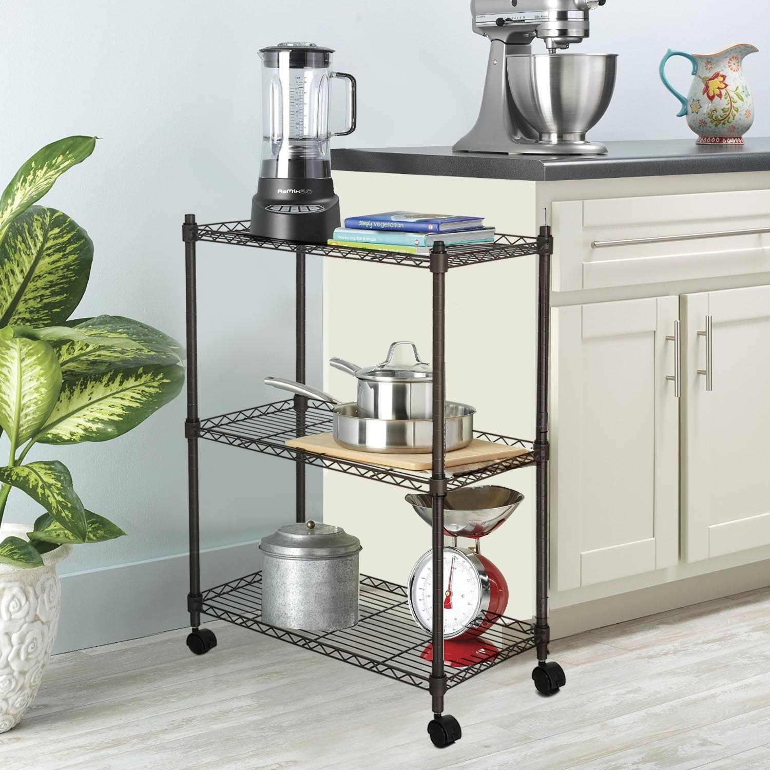 Hot Sale! Modern Wire Shelf Shelving Kitchen Rack Heavy Duty Microwave Oven Stand Storage Cart with Wheels 3 Tier VAF