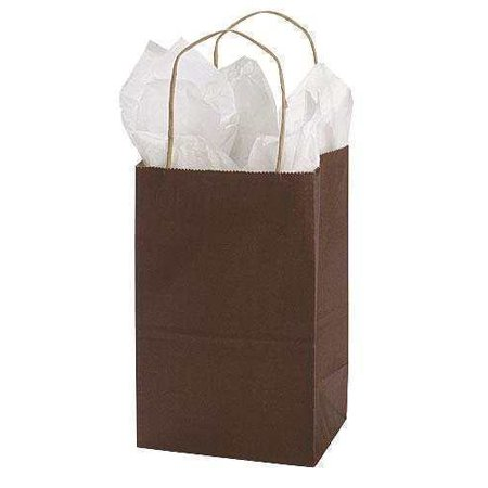GHP 25-Pcs 5.25 x3.5 x8.5  Brown Paper Twisted Rope Handles Side Gusset Shopping Bags GHP 25-Pcs 5.25 x3.5 x8.5  Brown Paper Twisted Rope Handles Side Gusset Shopping Bags are dark brown to enhance the aesthetics in your store.