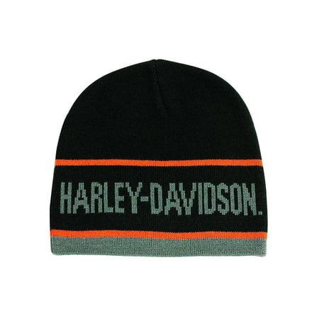 Men's H-D Script Striped Knitted Beanie Cap, Black KNCUS027030, Harley Davidson Black Basic Knit Beanie