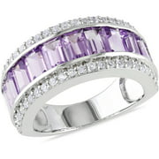 3-1/3 Carat T.G.W. Amethyst and Created White Sapphire Sterling Silver Semi-Eternity Anniversary Ring