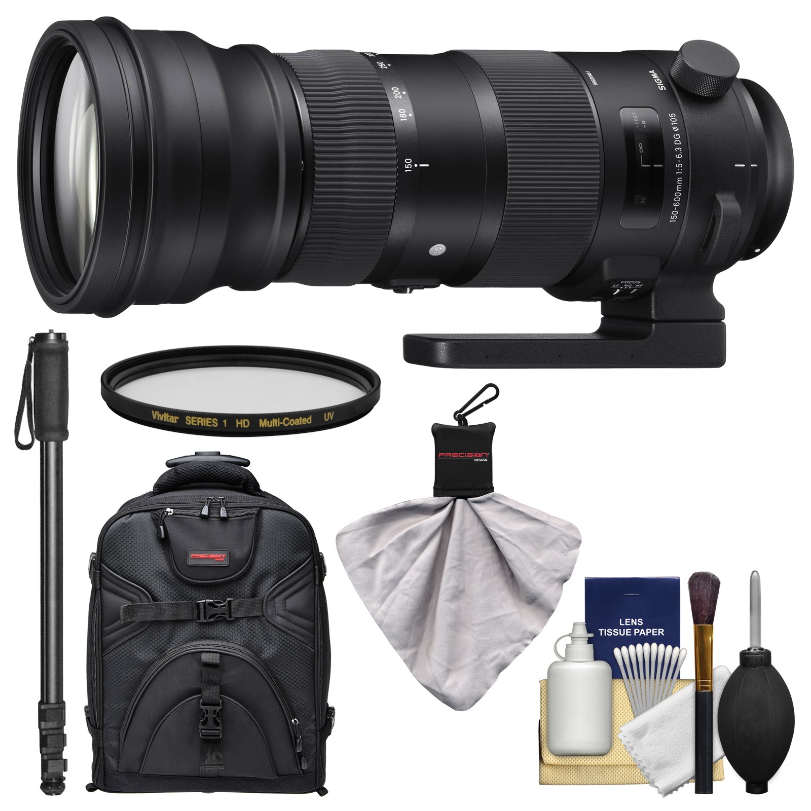 Sigma 150 - 600mm f / 5.0 - 6.3 Sports DG OS HSM Zoom Lens + Backpack + Filters + Monopod Kit for Nikon D3300, D5500, D7100, D7200, D610, D750, D810, D4s Cameras