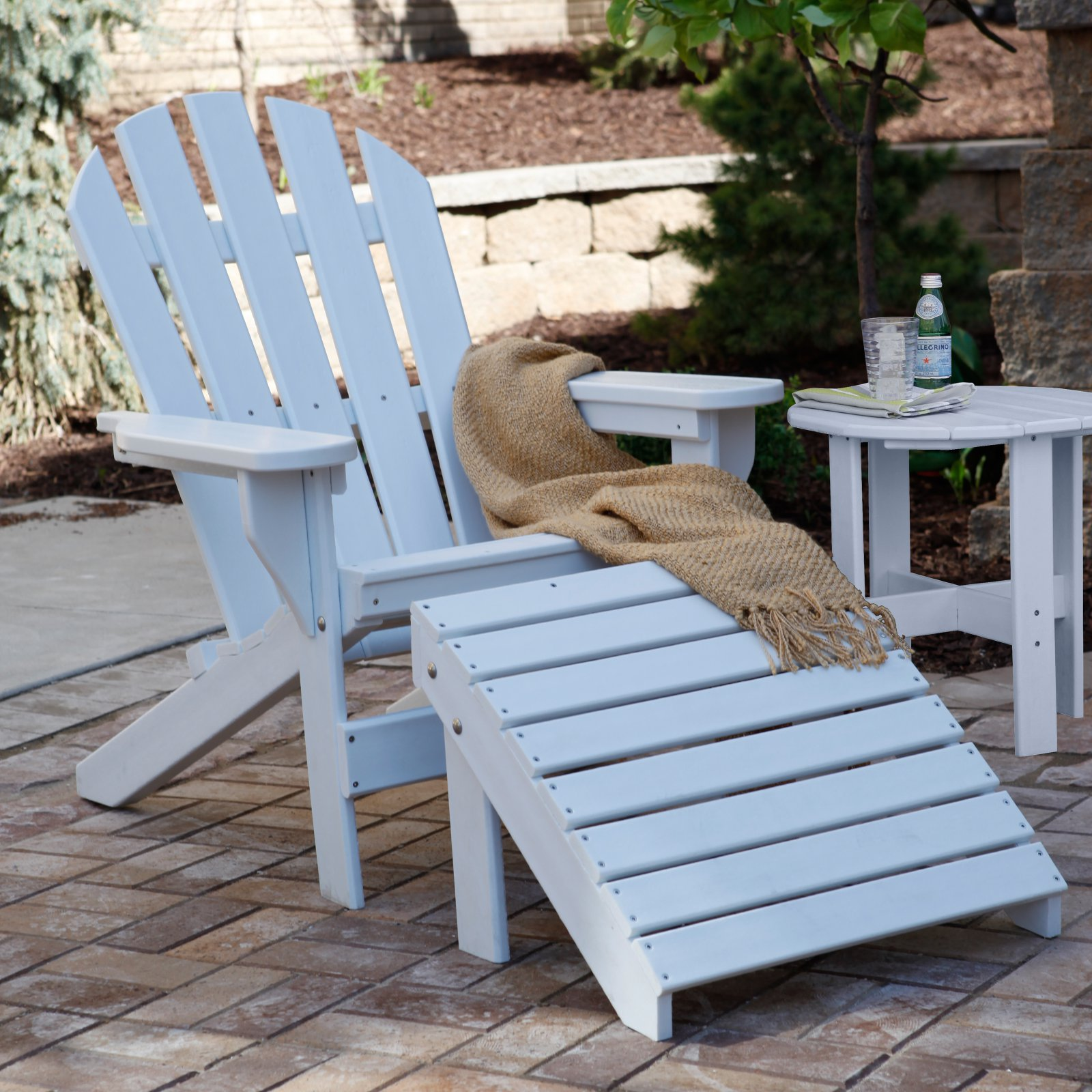 Jayhawk Plastics Cape Cod Adirondack Chair WIth Ottoman and Side Table