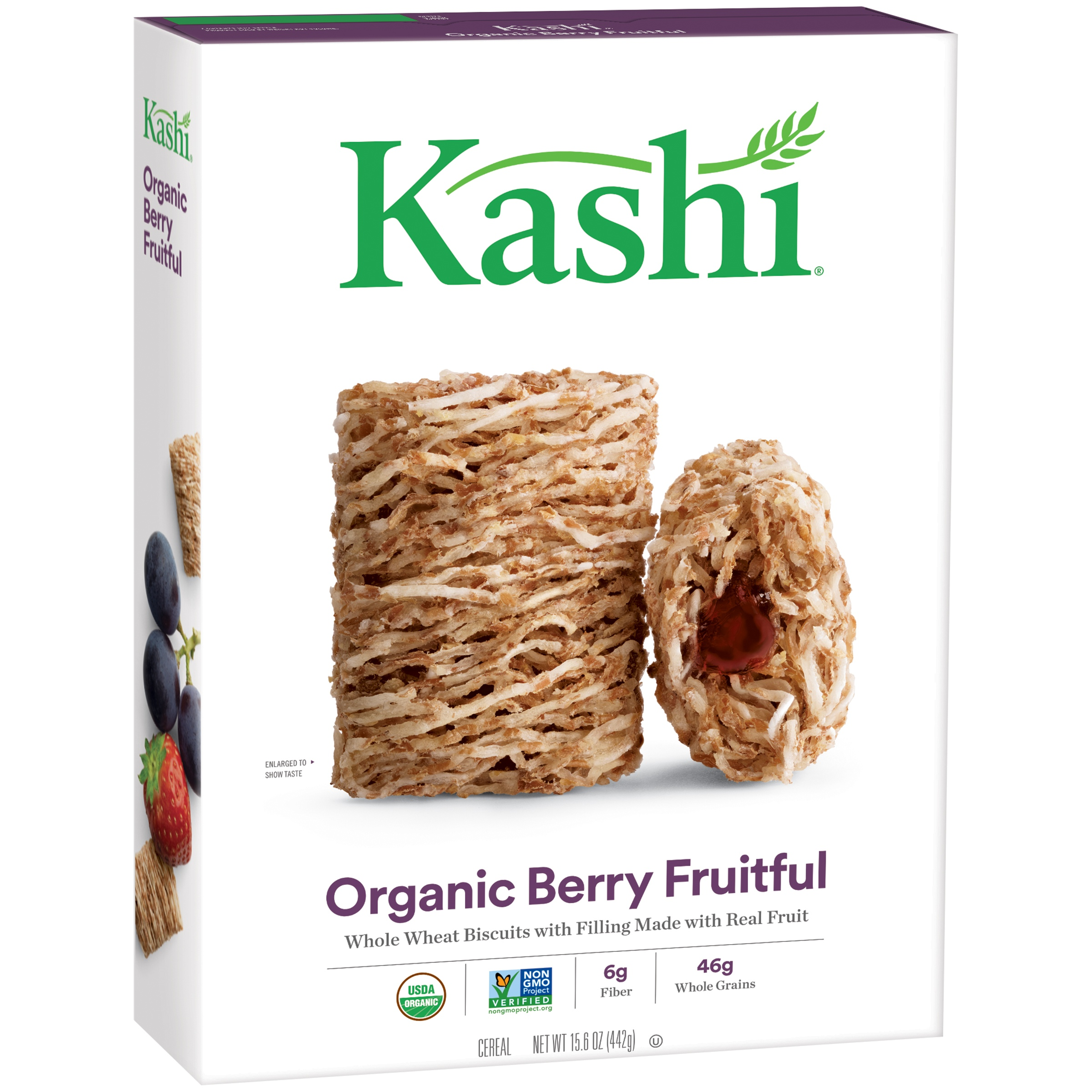 Kashi Organic Promise Cereal, Berry Fruitful Whole Wheat Biscuits, 15.6 Ounce