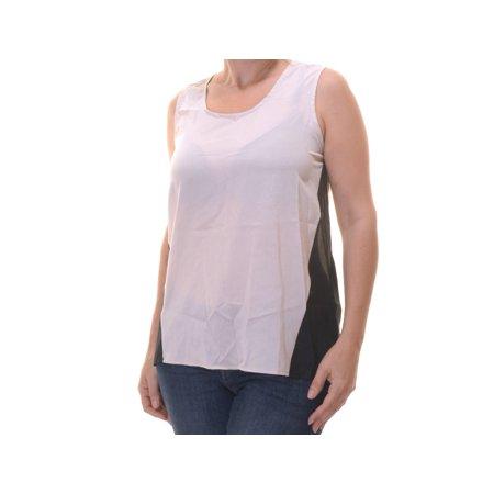 100% Silk Top (August Silk Women's Sleeveless High-low Top Tank Size S Black/Ash Blond)