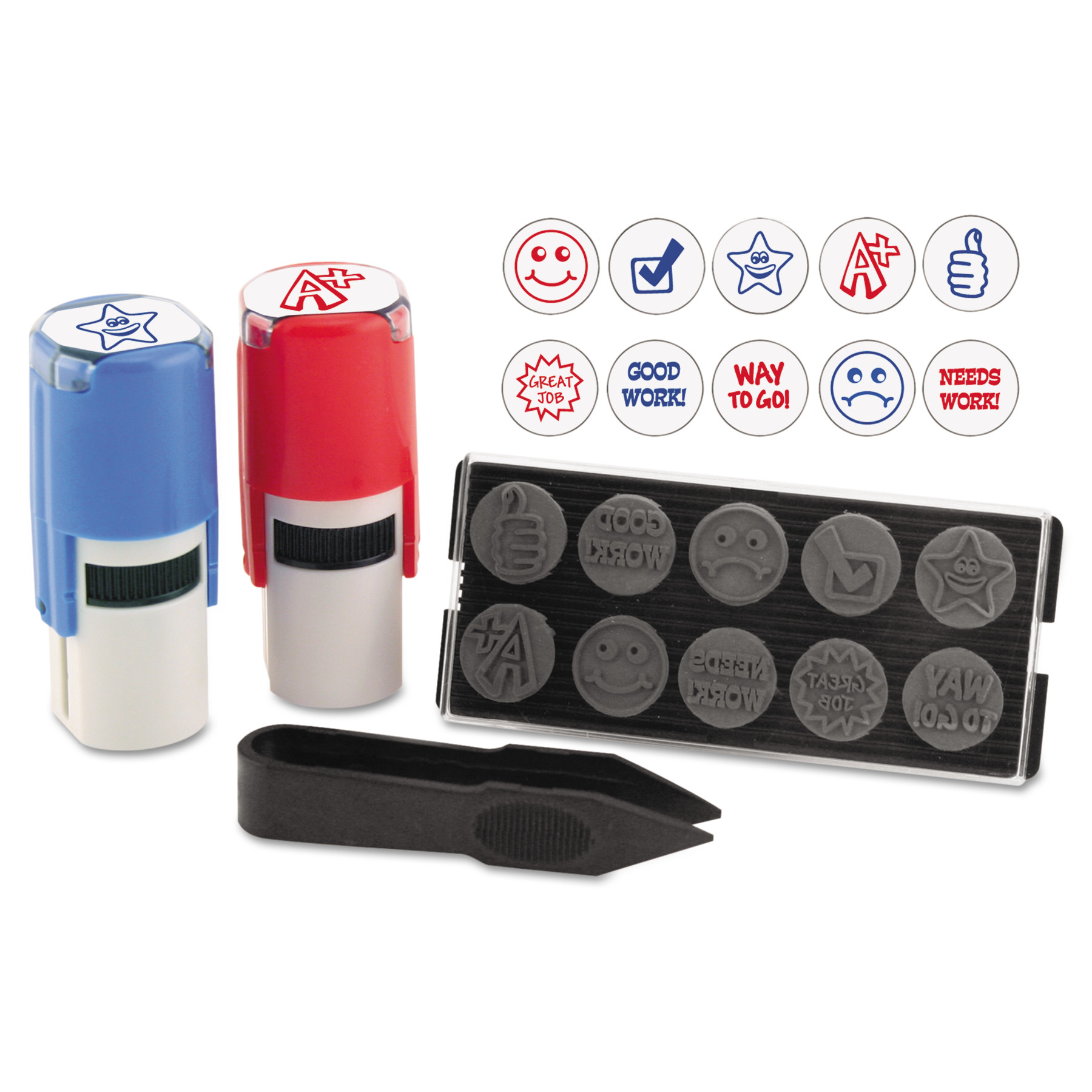 "Stamp-Ever Stamp-Ever Stamp, Self-Inking with 10 Dies, 5/8"", Blue/Red"