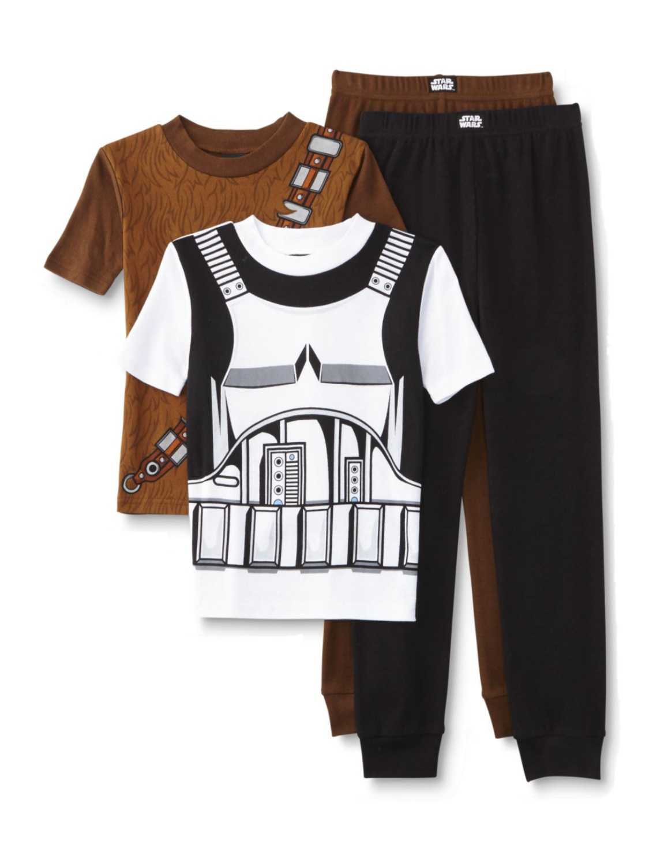 Star Wars Boys 4-Piece Stormtrooper Chewbacca Short Sleeve Pajama Sets