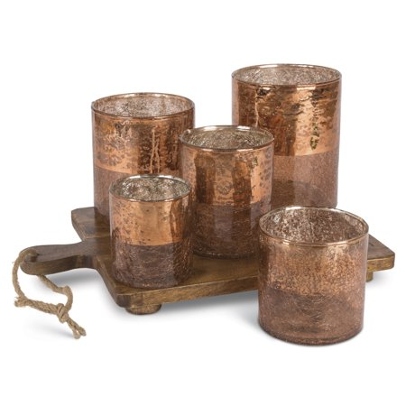 Copper Votive Garden with 5 Crackle Glass Cups on Wooden Chopping Block Base with Jute Rope - Glass Block Decoration
