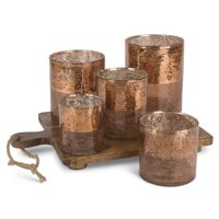 Copper Votive Garden with 5 Crackle Glass Cups on Wooden Chopping Block Base with Jute Rope
