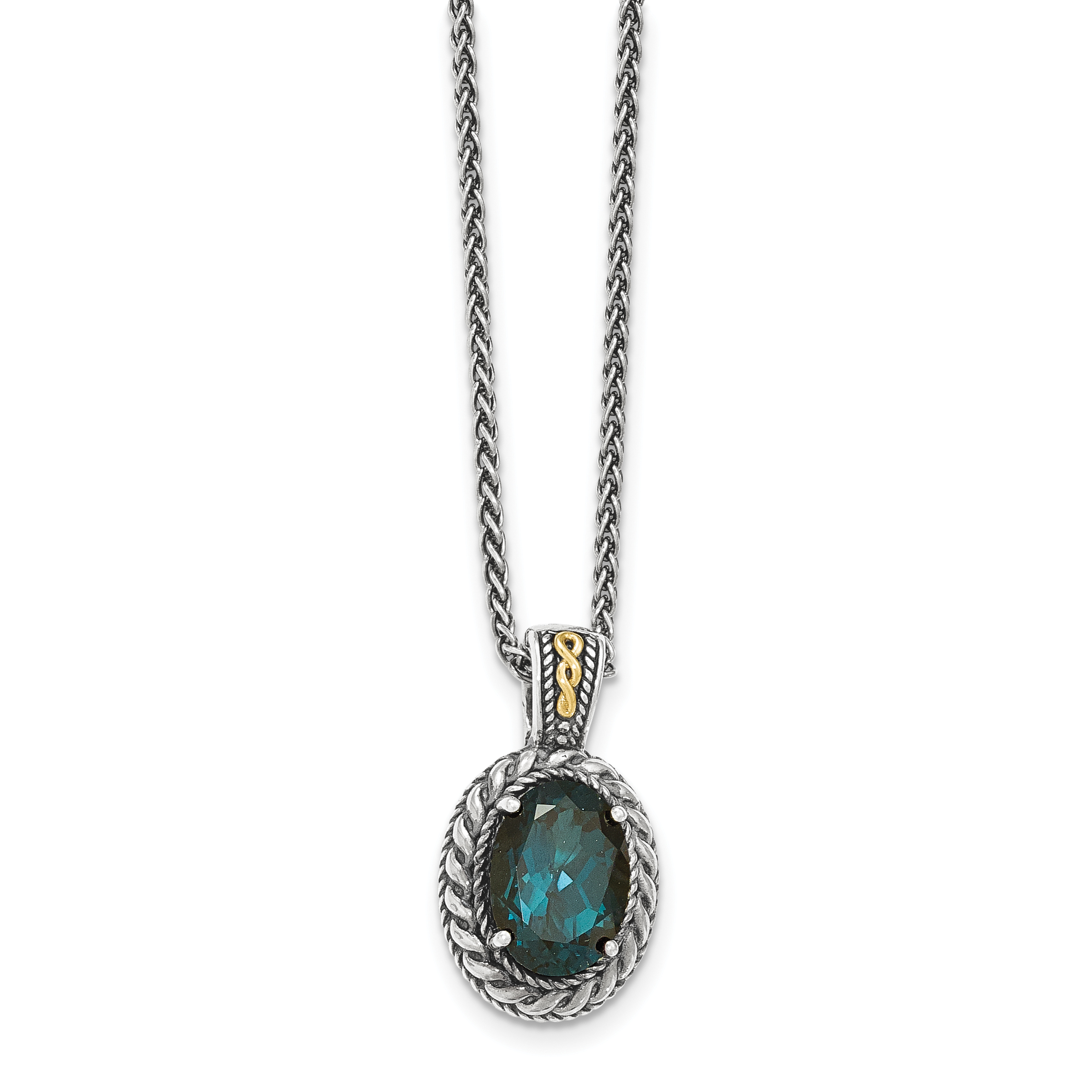 14k Silver Two-Tone Sterling Silver w  London Blue Topaz Hinged Bail Necklace by