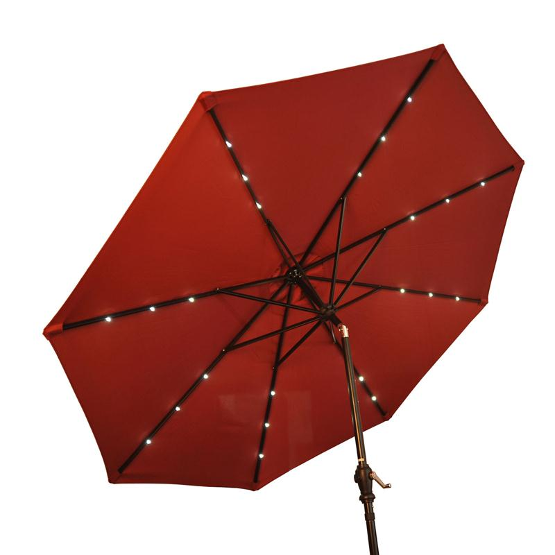 Outsunny 9' Outdoor Patio Umbrella w/ Tilt & Solar Powered LED Lights - Wine Red