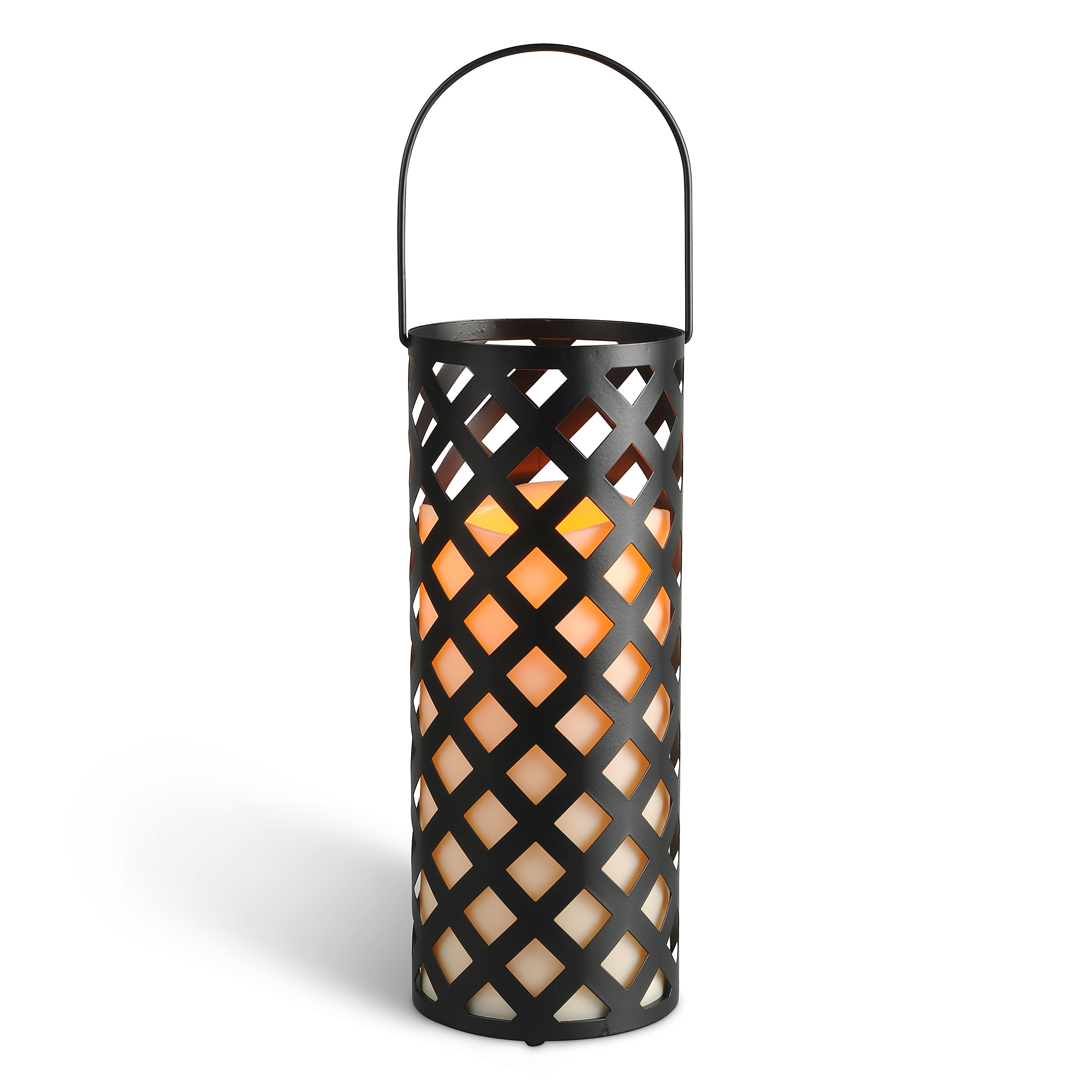 12.3-Inch Tall Round Criss-Cross Lantern with LED Candle and Timer Feature