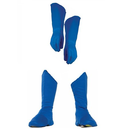 Child Superhero Blue Shoe Covers Boot Tops and Gauntlet Gloves Costume Kit - Blue Superhero Costume