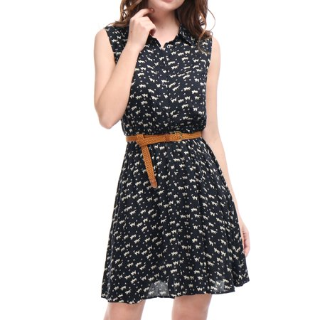 Ladies Apparel - Allegra K Women's 1/2 Placket Cat Printed Sleeveless Dress w Belt Blue (Size M / 8)