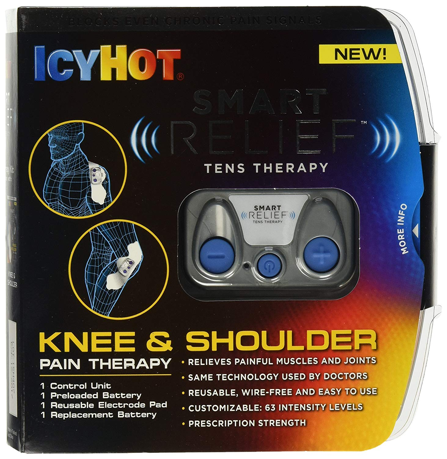 Smart Relief TENS Therapy, Knee and Shoulder Starter Kit, Includes Portable Wire-Free TENS Unit, Battery, Reusable Electrode Pad for Hips and.., By Icy Hot,USA