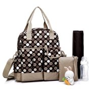 Colorland Multifunction Nappy Diaper Backpack, Brown Polka