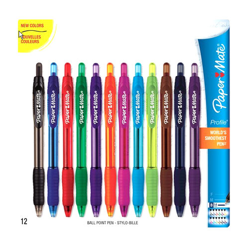 Paper Mate Profile Retractable Ballpoint Pens, Bold Point, Assorted, 12 Pack