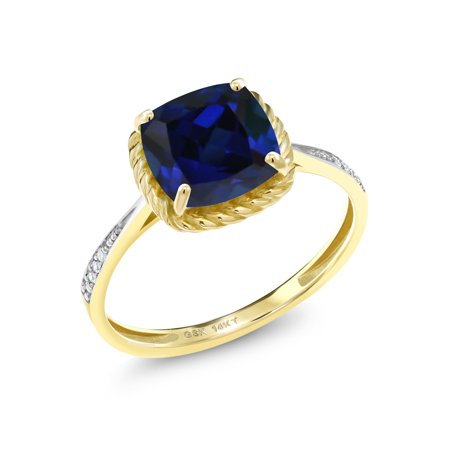 2.56 Ct Cushion Blue Simulated Sapphire White Diamond 14K Yellow Gold Ring Blue Sapphire 14kt Gold Ring